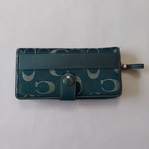 Coach Teal Signature Monogram wallet